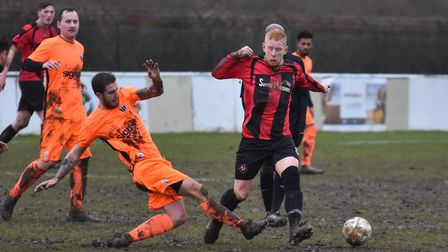 Ben Panting of Huntingdon Town in action against Blackstones. Picture: J BIGGS PHOTOGRAPHY