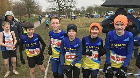 Some of the St Albans Athletics Club youngsters at the final round of the Chiltern Cross Country Lea