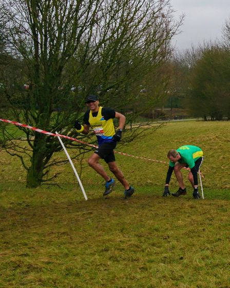 St Albans Striders' Errol Manningly tackles the final round of the Chiltern Cross Country League at