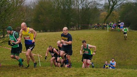 St Albans Striders' Nigel Aston tackles the final round of the Chiltern Cross Country League at Milt