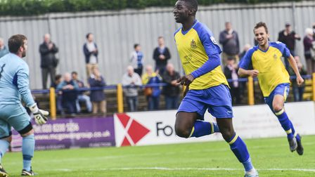 Percy Kiangebeni scored his first goal for St Albans City against Bridport in the FA Cup. Picture: B