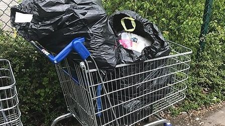 Waste dumped in trolleys at Royston's Tesco Extra. Picture: NHDC