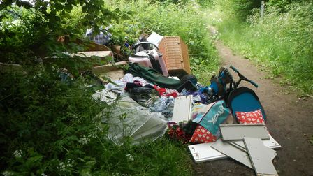 Waste dumpedon a footpath between Charlton and Offley. Picture: NHDC