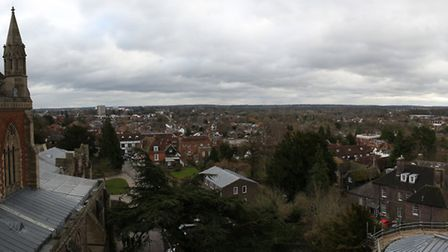 A panoramic view of St Albans taken from the roof of the South Transept of The Cathedral & Abbey Chu