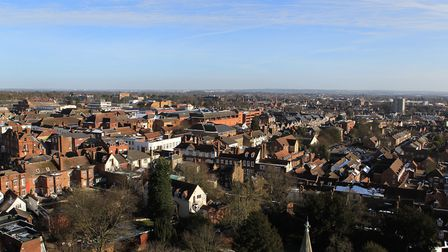 View of the town centre from the top of St Albans Abbey. Picture: Danny Loo
