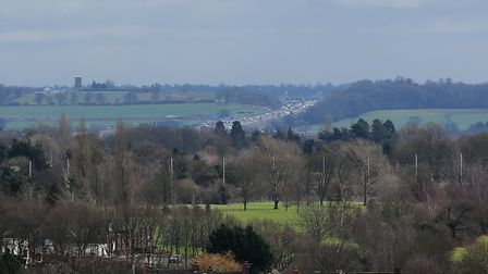 A view of the M25 motorway taken from the roof of the South Transept of The Cathedral & Abbey Church
