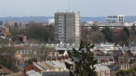 A view of Telford Court taken from the roof of the South Transept of The Cathedral & Abbey Church of