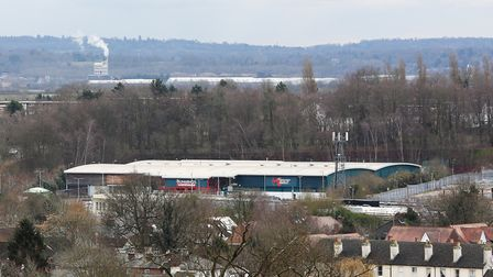 A view of the Abbey View Retail Park taken from the roof of the South Transept of The Cathedral & Ab
