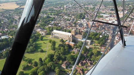 A view over St Albans from the Stampe biplane
