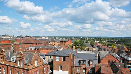 Elevated view looking down upon the roof tops of buildings in St Albans. Picture: John Gomez.