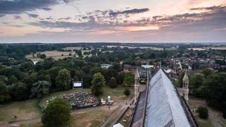 An aerial view of the St Albans open air cinema.