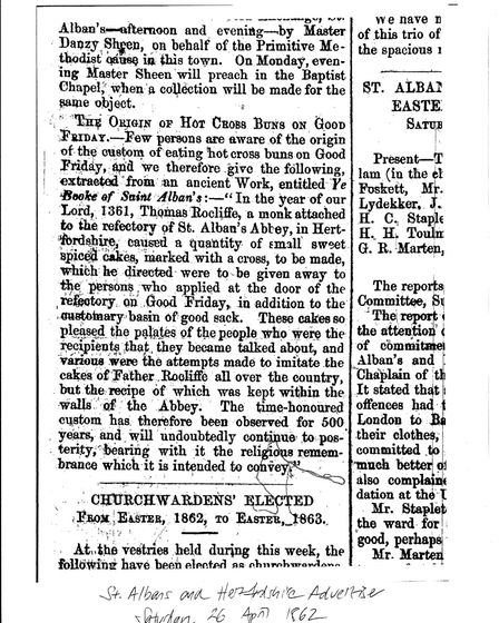 A report on the Alban Bun from the Herts Advertiser newspaper on April 26, 1862