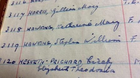 1950s Admission book for St Albans High School, showing the registration of Stephen Hawking and his