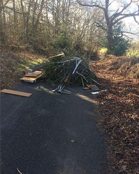 The fly-tipping blocked the road.