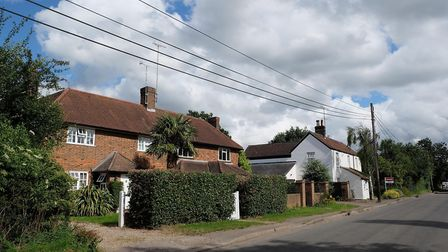 Some of the homes on Highfield Lane, Tyttenhanger
