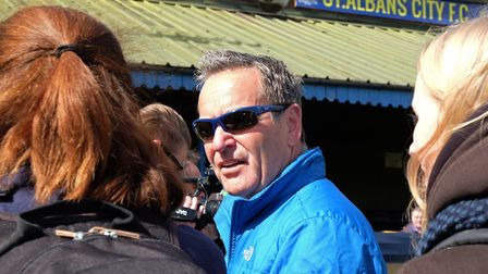 Sky Soccer Saturday presenter Jeff Stelling at St Albans City FC during his Men United March against