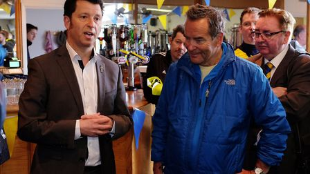 St Albans City FC owner Lawrence Levy welcomes Sky Soccer Saturday presenter Jeff Stelling to St Alb