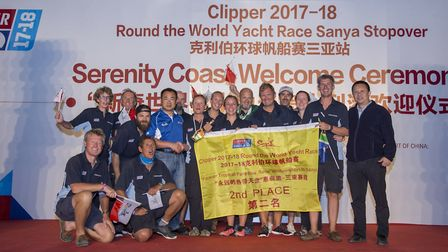 Shona and her team arriving into Sanya where they were awarded with a second place pennant. Picture: