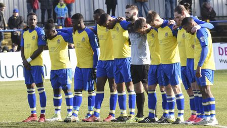 St Albans City observe a minute's silence prior to their game with Chippenham Town in memory of long