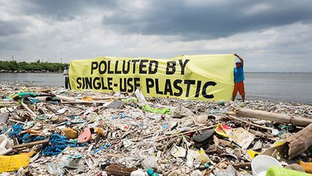 Greenpeace together with the #breakfreefromplastic coalition conduct a beach cleanup activity and br