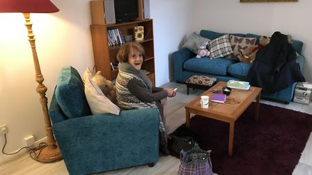 Sandra in her newly renovated flat. Picture: Courtesy of Di Walters.
