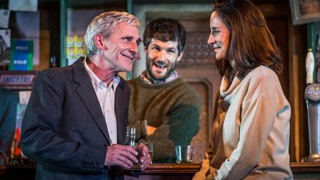 Sean Murray, Sam O'Mahony and Natalie Radmall-Quirke in The Weir at Cambridge Arts Theatre