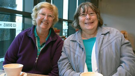 Norma Grace and Pat Lombard were the first to arrive at the store.