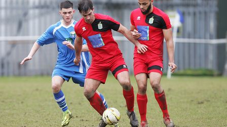 London Colney FC V Harpenden Town - Tom Collin in action for Harpenden Town.Picture: Karyn Haddon