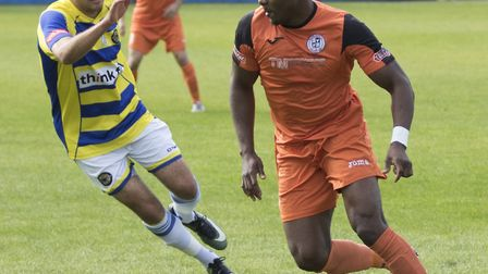 Dubi Ogbonna's penalty earned victory for St Ives Town. Picture: LOUISE THOMPSON
