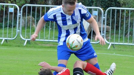 Eynesbury Rovers captain James Ducket suffered a broken nose in their defeat at Boston Town. Picture