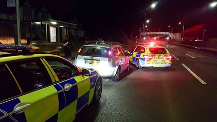 The Ford Focus after it was stopped by police in Edgware. Picture: BCH Road Policing.