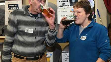 Paul Moorhouse and Kathy Hadfiel Moorhouse sample some of the aales on offer