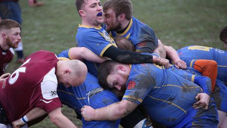Verulamians gain ground with a maul against Hitchin. Picture: Danny Loo