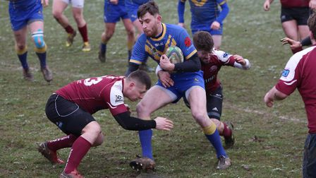 Alex Ricci carries the ball against Hitchin. Picture: Danny Loo