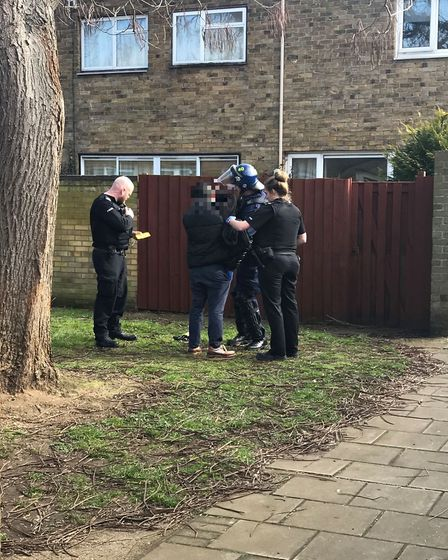 A stop and search took place outside the property.