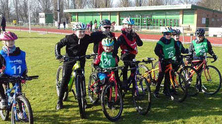 The St Ives Cycling Club 'Go Ride' team from the latest round of the Muddy Monsters North Cambs Leag