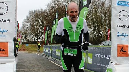 Pat Ellerbeck crosses the finish line in the recent Anglian Water Standard Duathlon.