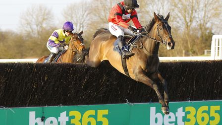 Rene's Girl in full flight during her success in the Listed Lady Protectress Mares' Chase at Hunting
