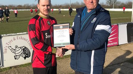 Huntingdon Town striker Corey Kingston received his January goalscorer of the month award from Unite