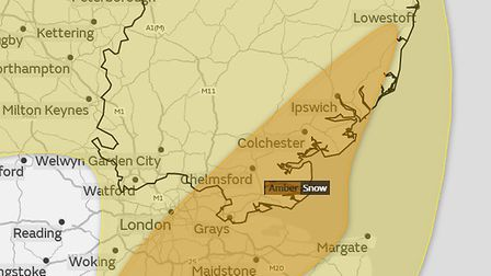 Snow is expected to hit across the East of England today. Picture: MET OFFICE
