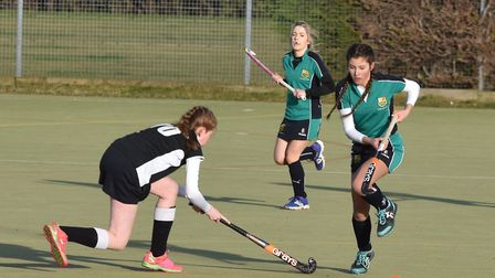 Action from the East Women's League derby clash between St Ives 4ths and Huntingdon 2nds. Picture: J