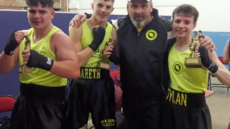 Pictured are, from the left, Leon Isaacs, Gareth Macey, New Saints ABC chief Kev Bullus and Dylan Wa