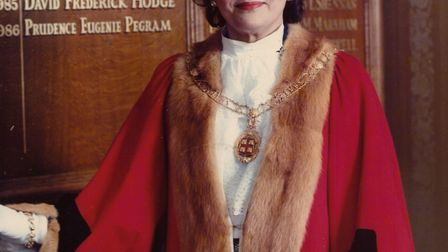 Cllr Pru Pegram when she was mayor of St Ives