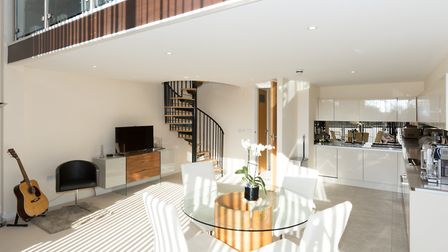 """The open plan kitchen/reception room measures 18'2"""" x 19'10"""""""