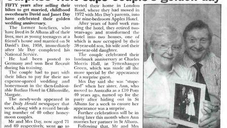 The cutting from a 2008 copy of The Herts Advertiser celebrating Janet and David's golden wedding an