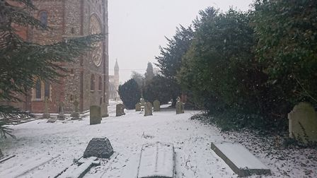 St Albans in the snow.