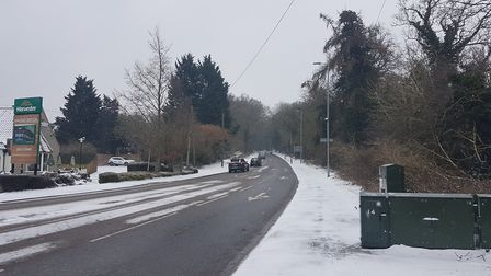 Harpenden Road in St Albans in the snow.