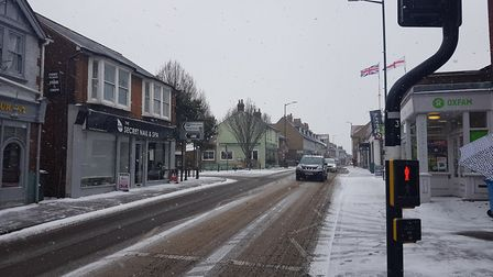 Catherine Street, St Albans in the snow.