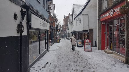 French Row in St Albans in the snow.