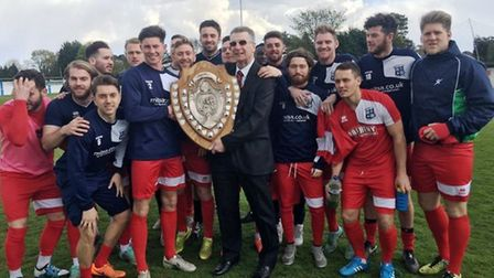 The Godmanchester Rovers squad with the Thurlow Nunn League Premier Division runners-up shield in 20